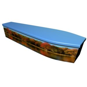 Autumn Scene Wooden Coffin