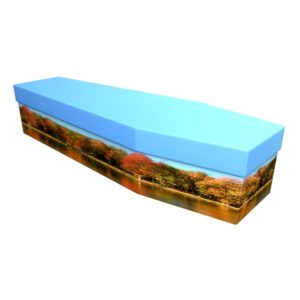 Autumn Scene Cardboard Coffin - Price Reduced!
