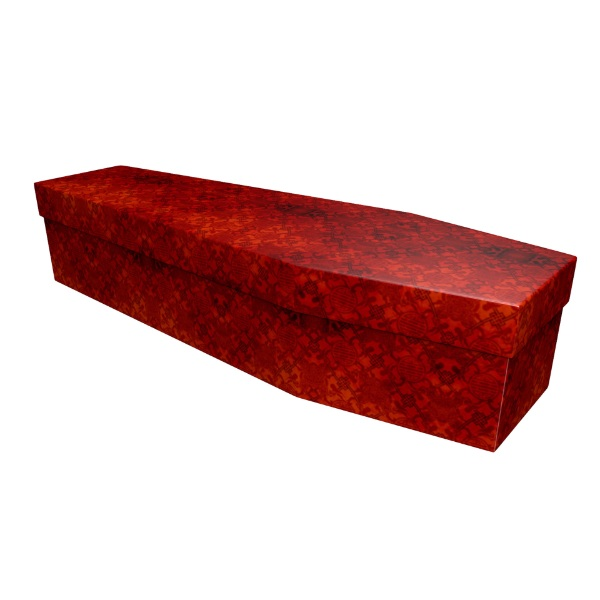 Red Texture Cardboard Coffin - Price Reduced!