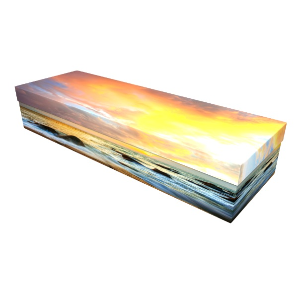 Seaside Sunset Cardboard Coffin Casket