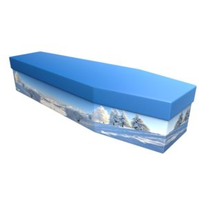 Winter Scene Cardboard Coffin - Price Reduced!