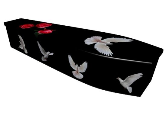 Dove Printed Wooden Coffin
