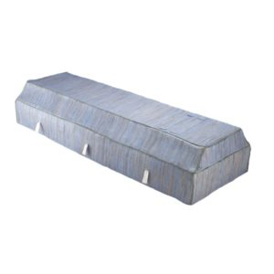 Fabric Coffin with Blue Banana Leaf Cover
