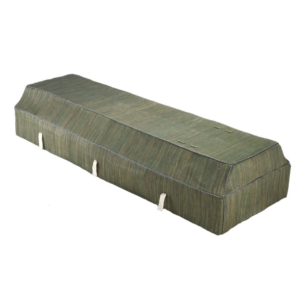 Fabric Coffin with Green Banana Leaf Cover