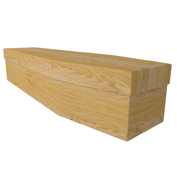 Light Woodgrain Cardboard Coffin Price Reduced