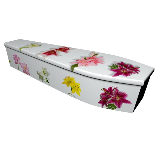 Lily Printed Wooden Coffin