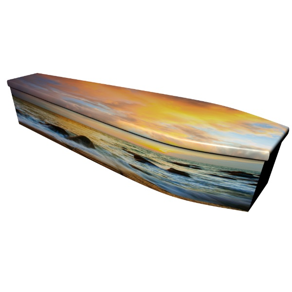 Seaside Sunset Printed Wooden Coffin