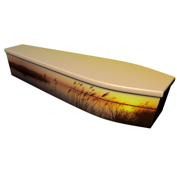 Spring Sunset Printed Wooden Coffin