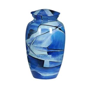 Cremation Urn - Blue Collage