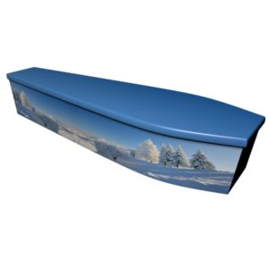 Winter Scene Printed Wooden Coffin
