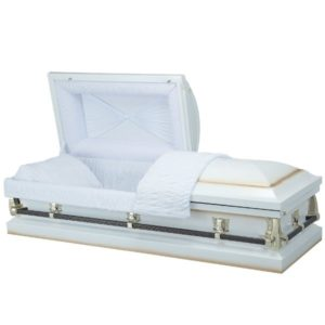 Neptune White - Steel American Casket Coffin