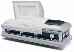 Midnight Silver Steel American Casket coffin